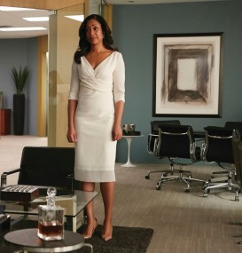 "SUITS -- ""We're Done"" Episode 407 -- Pictured: (l-r) Gabriel Macht as Harvey Specter, Gina Torres as Jessica Pearson -- (Photo by: Ian Watson/USA Network)"