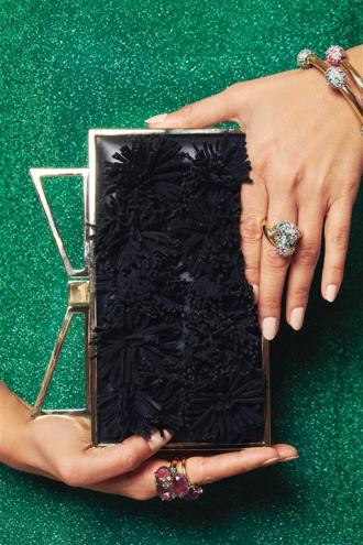 Dress: Delpozo Bag: Sara Battaglia Jewelry: Pomellato