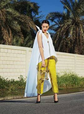 TOP: Natasha Zinko - Al Ostoura Mezzaine Thuraya Mall Al Ostoura The Avenues TROUSERS: Dries Van Noten - Thuraya Mall, Al Ostoura The Avenues BAG: Marzook - Al Ostoura Thuraya Mall NECKLACE: Lanvin - Thuraya Mall SHOES: Balenciaga - Thuraya Mall, Al Ostoura The Avenues