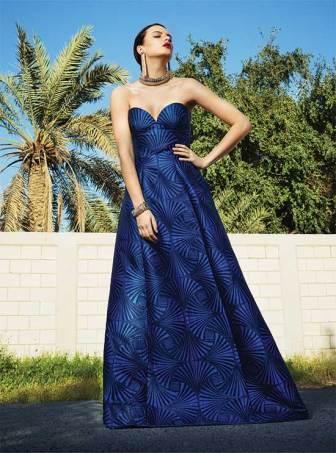 DRESS: Alberta Ferretti - Thuraya Mall NECKLACE, EARRINGS & BRACELET: Lanvin - Thuraya Mall